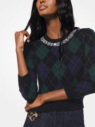 Michael Kors Crystal Embellished Argyle Cashmere Pullover