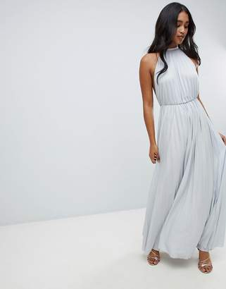 Asos Design DESIGN high neck pleated maxi dress