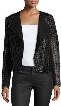 Bagatelle Cropped Cutout Leather Moto Jacket, Black $550 thestylecure.com