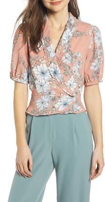 June & Hudson Floral Print Wrap Top