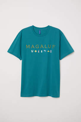 H&M T-shirt with Printed Design - Turquoise