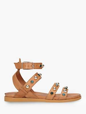 Carvela King Leather Studded Sandals, Tan