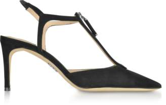 Rodo Black Suede High Heel Zip Sandals