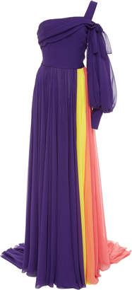 Carolina Herrera Color Block Silk Gown
