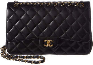 Chanel Black Quilted Lambskin Leather Classic Jumbo Double Flap Bag