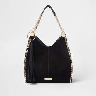 River Island Womens Black chain trim slouch tote bag