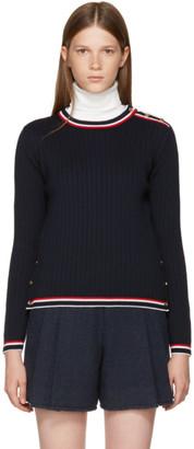 Thom Browne Navy Rib Stitch Crewneck Pullover $1,090 thestylecure.com