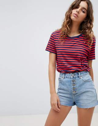 Asos DESIGN denim short with raw hem and exposed button fly