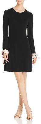 Tory Burch Contrast-Cuff Merino Sweater Dress