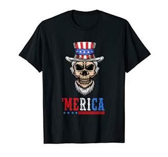 SAM. 4th Of July Merica Skull Uncle Hat USA Flag Patriotic T-Shirt
