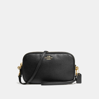 COACH Coach Crossbody Clutch In Polished Pebble Leather $165 thestylecure.com