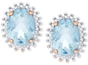 Macy's Blue Topaz Oval Stud Earrings (3-1/5 ct. t.w.) in Sterling Silver & 18k Rose Gold-Plate