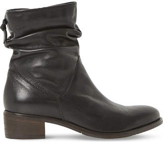 Dune Ladies Black Pager Leather Ankle Boots