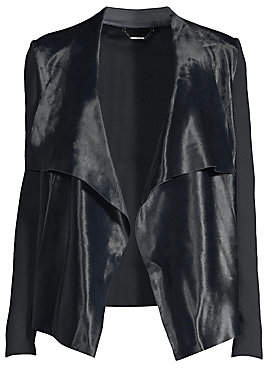 0668392d02f5 Elie Tahari Women s Iona Calf Hair  Merino Wool Leather-Trim Drape Front  Jacket