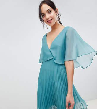 Asos Tall DESIGN Tall flutter sleeve mini dress with pleat skirt