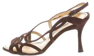 Manolo Blahnik Suede Cutout Sandals