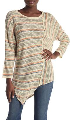 Democracy Asymmetrical Striped 3\u002F4 Sleeve Sweater