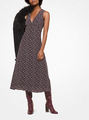 Michael Kors Leaf-Print Silk Dress