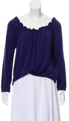 Armani Collezioni Long Sleeve Ruffled Top