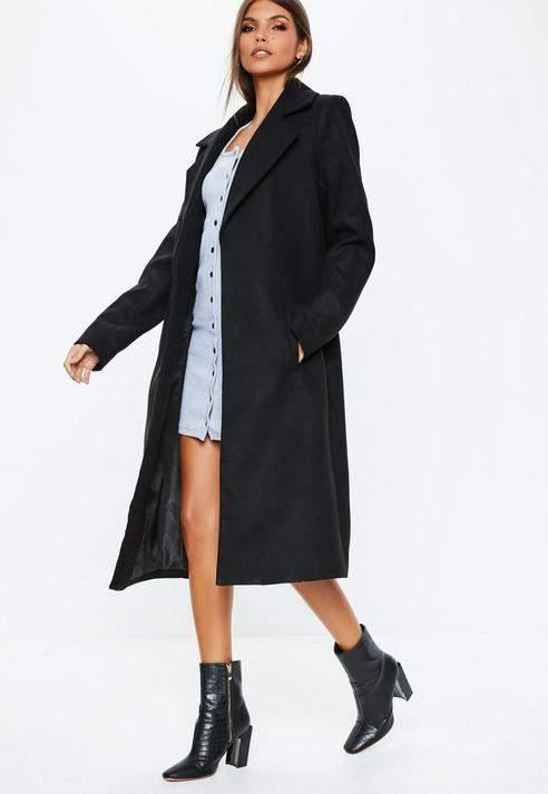Black Longline Formal Coat, Black