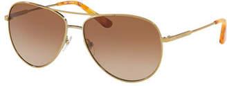 Tory Burch Mirrored Aviator Metal Sunglasses