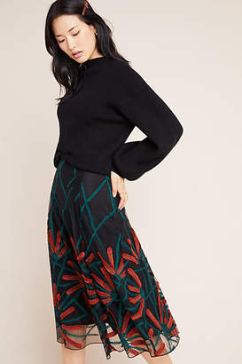 Eva Franco Embroidered Tulle A-Line Skirt