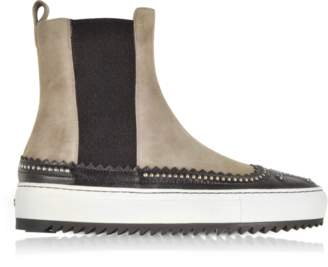 Rodo Taupe Suede and Black Leather High Top Sneakers w/Studs