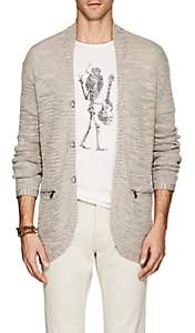 John Varvatos MEN'S LINEN-BLEND V-NECK CARDIGAN-NEUTRAL SIZE XL