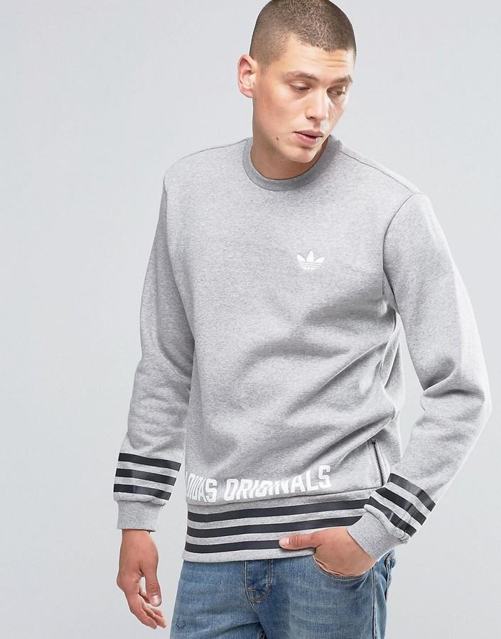 adidas Originals Street Pack Crew Sweatshirt In Gray AZ1127