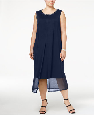 Connected Plus Size Embellished Chiffon Overlay Midi Dress $79 thestylecure.com