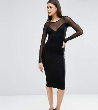 Asos Tall TALL Plunge Bodycon Midi Dress with Contrast Mesh