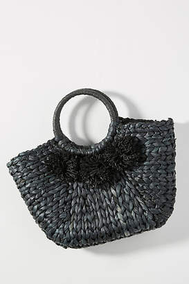 Anthropologie Perfectly Pommed Mini Straw Tote Bag