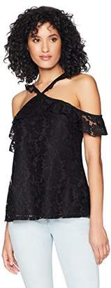 Romantic Dreamers Womens Cross Y-Neck Cold Shoulder Ruffle Sleeve Lace Top