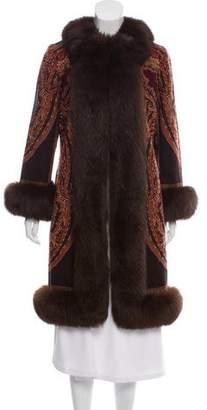 Adrienne Landau Fur-Trimmed Wool Coat