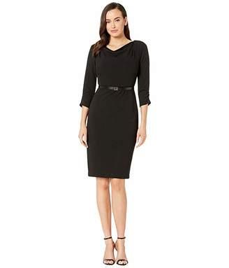 Calvin Klein Belted Cowl Neck Dress