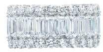 Crislu Classic Pave Crystal, Platinum and Sterling Silver Baguette Eternity Band Ring