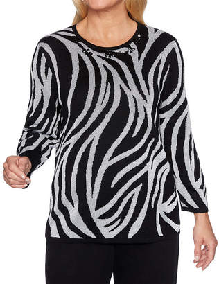 Alfred Dunner Classics Womens Round Neck 3/4 Sleeve Animal Pullover Sweater