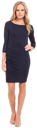 Three Dots 3/4 Sleeve Asymmetrical Shirred Dress Women's Dress
