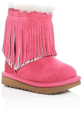 UGG Girls' Classic Short II Fringe Suede & Shearling Boots - Walker, Toddler
