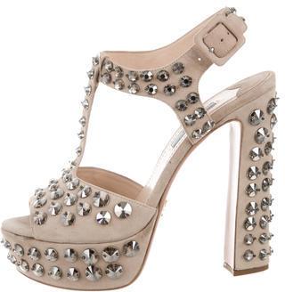 pradaPrada Embellished Suede Sandals