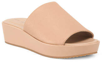 Slip On Leather Wedge Sandals