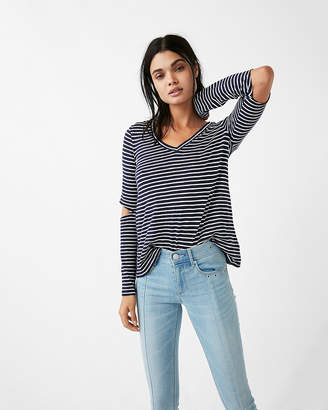 Express One Eleven Striped V-Neck Elbow-Cut Long Sleeve Shirt