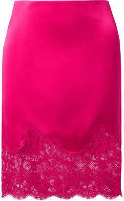 Givenchy Lace-trimmed Silk-satin Skirt - Fuchsia