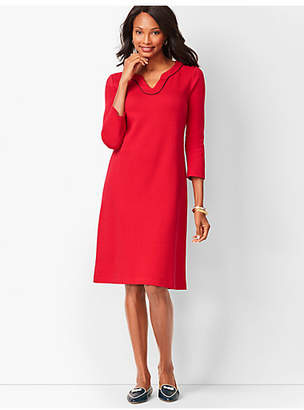 Talbots Trimmed Cotton Knit Shift Dress