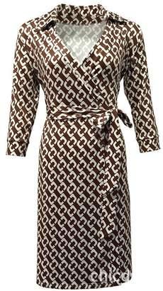 Diane von Furstenberg XC Dresses XC Summer Women 3/4 Sleeve Vintage Floral Print Midi Dress Causal Wrap Beach Dress with Belt