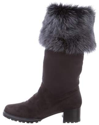 Stuart Weitzman Shearling-Trimmed Suede Boots
