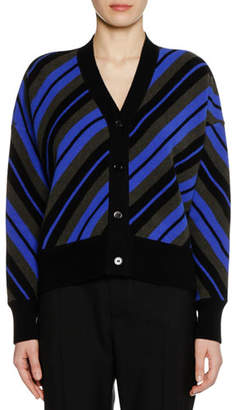 Marni V-Neck Button-Front Striped Wool Cardigan