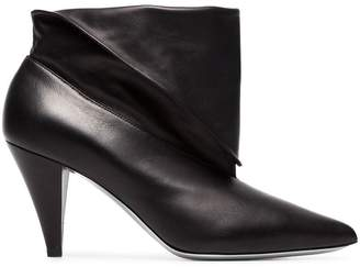Givenchy black 80 foldover leather ankle boots