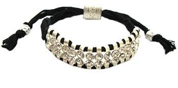 Shashi - Women's Black Two Row Silver/Crystal Bracelet