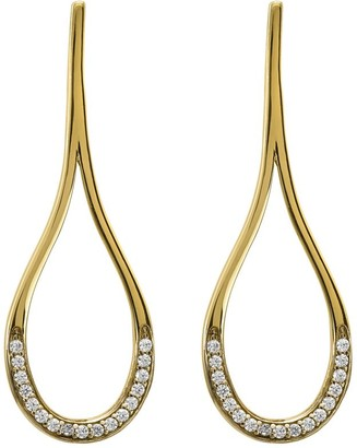 14K Gold Pear-Shaped Crystal Post Earrings